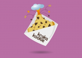 Logo design concept for a cooki company. Krakakookie comes from the words Kraka for volcano, and Kookie.